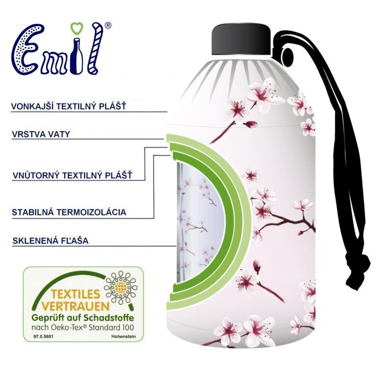 Zdravá sklenená fľaša Emil