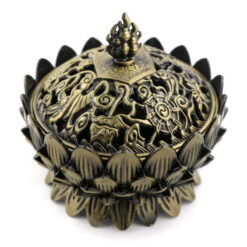 kovová kadidelnica s mosadzným dekórom